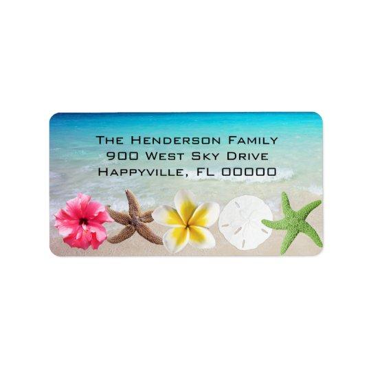 Etiqueta El Hawaiian florece el remite de los Seashells de