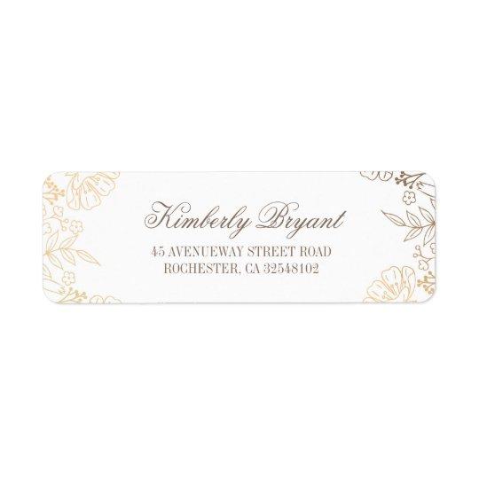 Etiqueta El oro florece el boda blanco del vintage