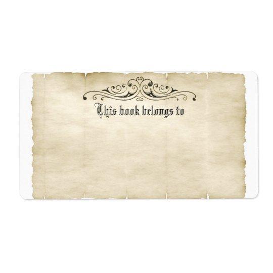 Etiqueta El pergamino viejo del estilo del vintage añade su