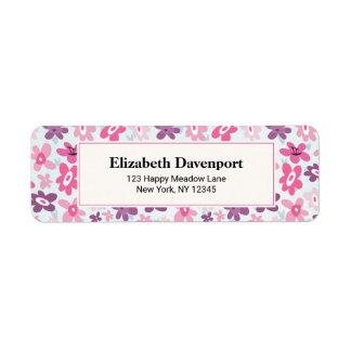 Etiqueta El rosa florece el modelo caprichoso lindo