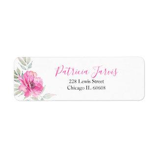 Etiqueta El rosa florece la acuarela botánica elegante