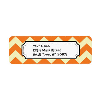 Etiqueta El zigzag poner crema anaranjado de Chevron de la