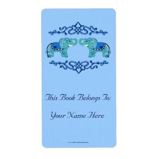 Etiqueta Elefante de la alheña (azul/azul claro)