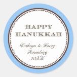 Etiqueta elegante blanca azul feliz del regalo de
