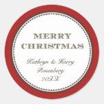Etiqueta elegante blanca roja del regalo de vacaci