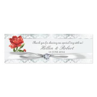Etiqueta elegante del favor del diamante de plata  plantilla de tarjeta personal