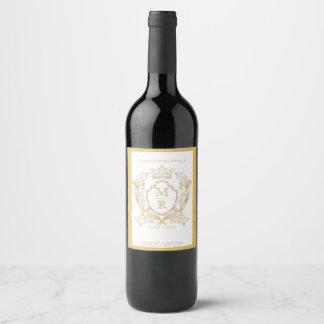 Etiqueta elegante del vino del boda del monograma