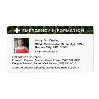 Etiqueta - emergencia y Info médico - hojas de Etiquetas De Envío