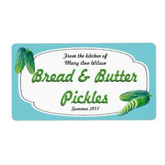 Etiqueta Enlatado de las salmueras de pan y de mantequilla