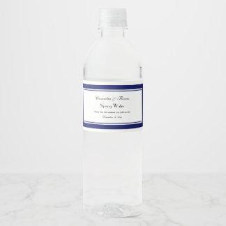Etiqueta enmarcada azules marinos elegantes de la