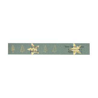Etiqueta Envolvente De Dirección Árboles del día de fiesta del oro