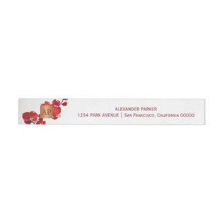 Etiqueta Envolvente De Dirección Con monograma de cobre metálico floral rojo