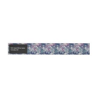 Etiqueta Envolvente De Dirección Modelo artsy del bosquejo floral púrpura azul