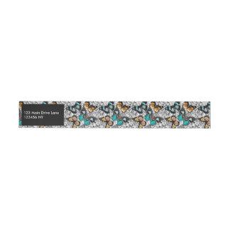 Etiqueta Envolvente De Dirección Modelo colorido del bosquejo de las mariposas
