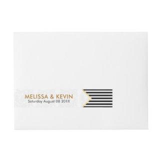 Etiqueta Envolvente De Dirección Negro moderno y el blanco raya diseño geométrico