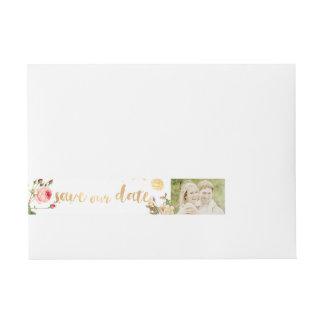 Etiqueta Envolvente De Dirección Rosas del vintage de PixDezines/floral