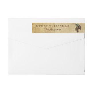Etiqueta envuelta del pino del día de fiesta etiquetas postales