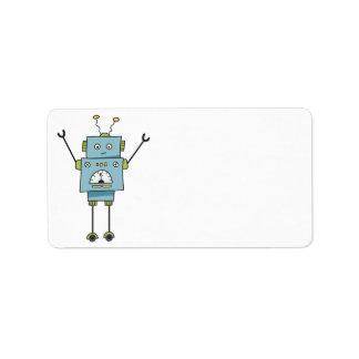 Etiqueta Espacio en blanco azul feliz lindo del robot