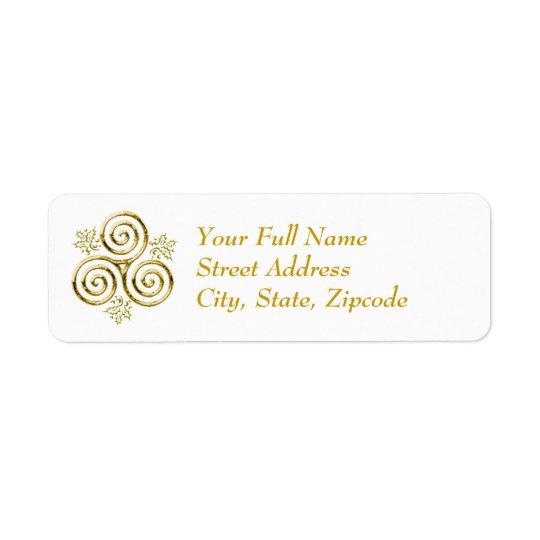 Etiqueta Espiral triple del oro y hojas del acebo -