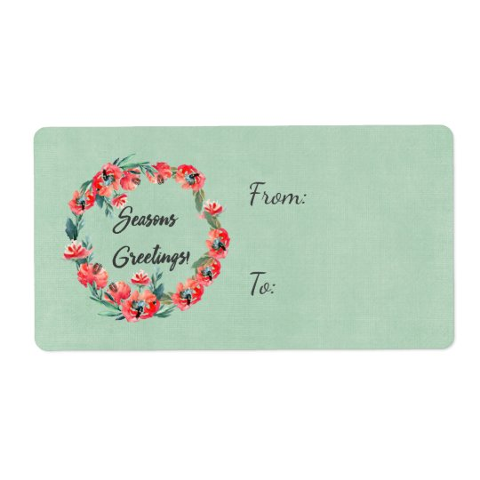 Etiqueta Estaciones que saludan la guirnalda floral roja de