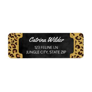 Etiqueta Estampado de animales salvaje del oro del guepardo