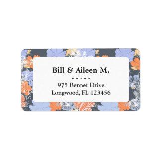 Etiqueta Estampado de flores anaranjado violeta gris del
