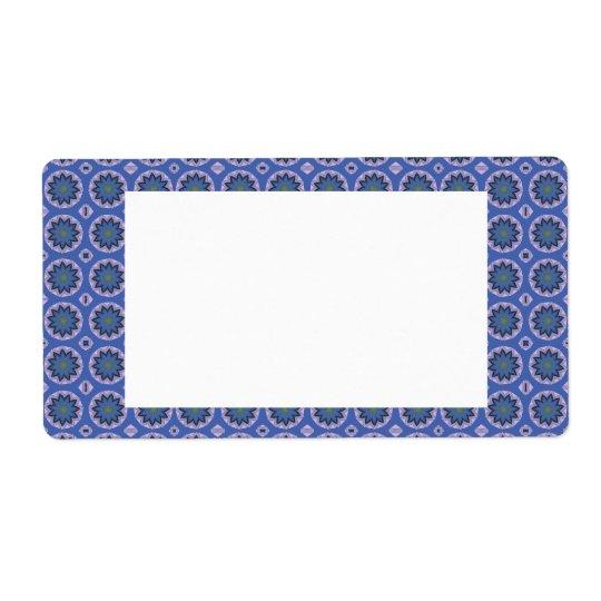Etiqueta Estampado de flores azul bonito