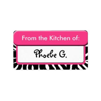 """Etiqueta Estampado de zebra rosado elegante """"de la cocina"""""""