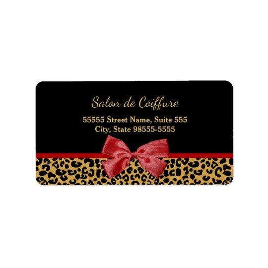 Etiqueta Estampado leopardo elegante del oro con el salón