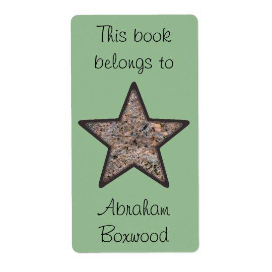 Etiqueta Este libro pertenece a la estrella conocida de