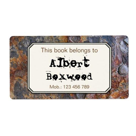 Etiqueta Este libro pertenece a la textura conocida de