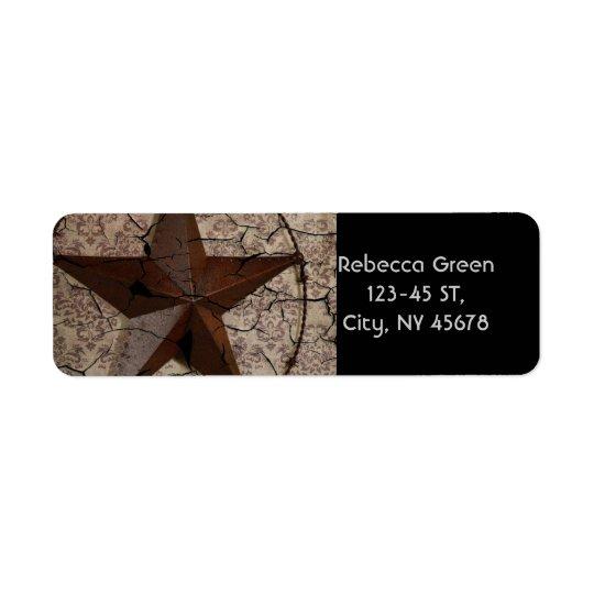 Etiqueta Estrella de Tejas primitiva rústica del país