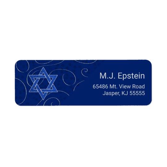 Etiqueta Estrella del remolino azul de David con nombre