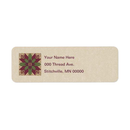 Etiqueta Estrella verde acolchada de Borgoña