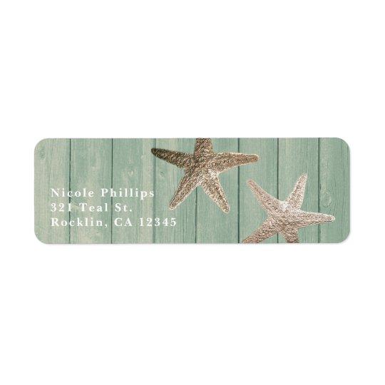 Etiqueta Estrellas de mar de oro y invitación elegante de
