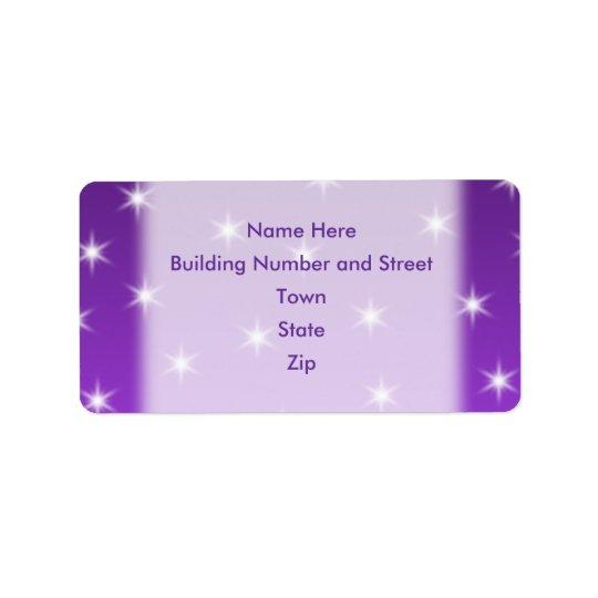 Etiqueta Estrellas del púrpura y blancas, modelo