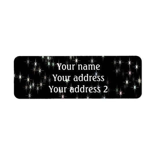 Etiqueta Estrellas multicoloras del pastel/fondo negro