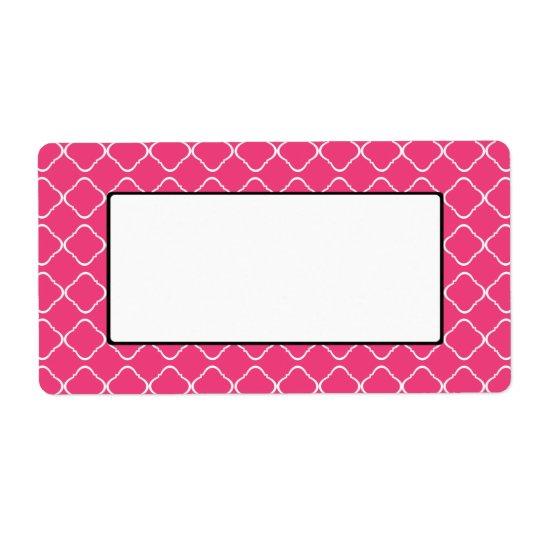 Etiqueta/etiqueta rosadas brillantes del enrejado etiqueta de envío