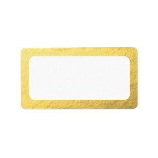 Etiqueta Falsa dirección en blanco del oro