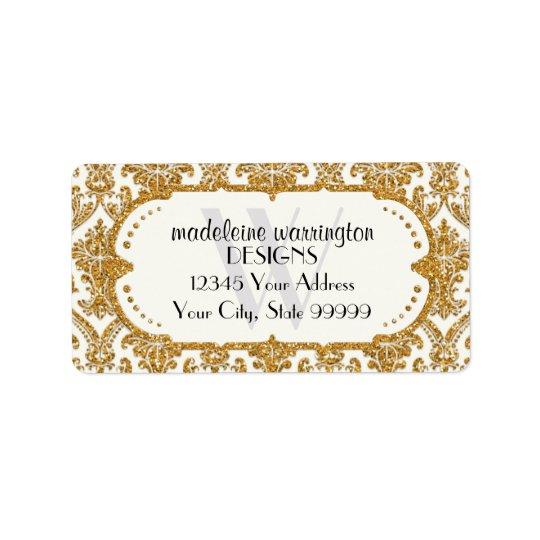 Etiqueta Falso negocio del estampado de flores del damasco