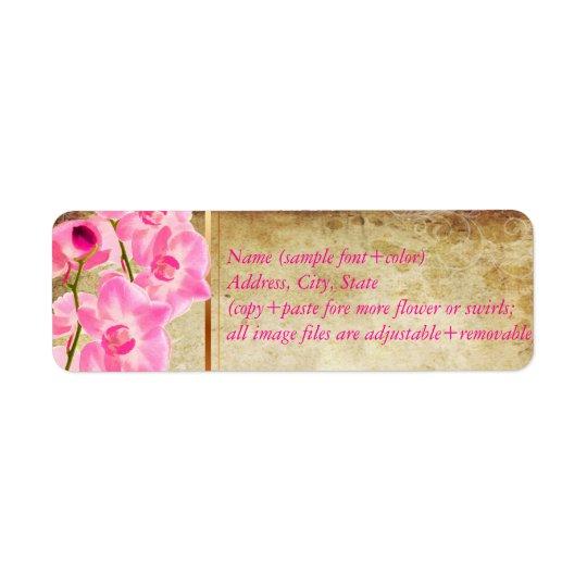 Etiqueta Falso pergamino de PixDezines/orquídea rosada del