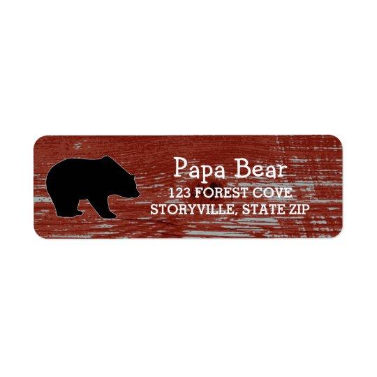 Etiqueta Fauna de madera de la naturaleza del oso del grano