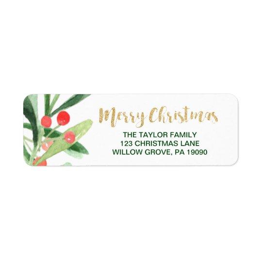 Etiqueta Felices Navidad de la guirnalda del acebo