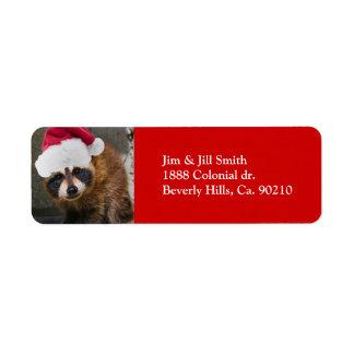 Etiqueta Felices Navidad del mapache