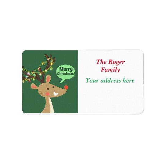 Etiqueta Felices Navidad del reno colorido lindo de las