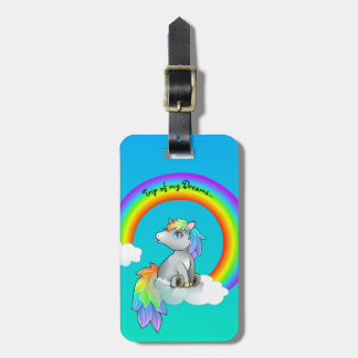 Etiqueta feliz del equipaje del unicornio del arco