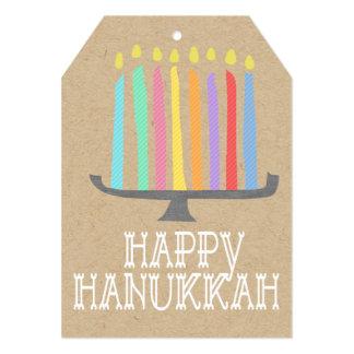 Etiqueta feliz del regalo del menorah de Jánuca Invitacion Personal