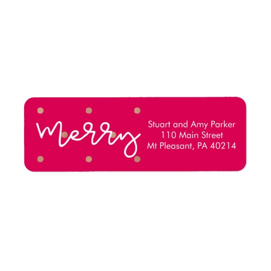 Etiqueta Feliz rosa con los puntos de la mirada del oro