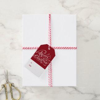 Etiqueta festiva del regalo de la aguja del pino