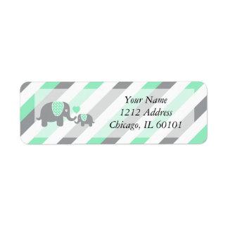 Etiqueta Fiesta de bienvenida al bebé blanca, verde y gris